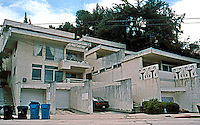 Rudolph Schindler: Bubeshko Apt. Building, Griffith Park Blvd. at Lyric Avenue. 1938 and 1941. Taken 2004, 14 years after earlier shots.
