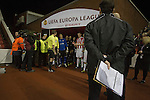 Stoke City 0 Valencia 1, 16/02/2012. Britannia Stadium, UEFA Europa League. A television producer stands on guard as the players wait to make their way onto the pitch at the Britannia Stadium, Stoke-on-Trent, before the UEFA Europa League last 32 first leg between Stoke City and visitors Valencia. The match ended in a 1-0 victory from the visitors from Spain. Mehmet Topal scored the only goal in the first half in a match watched by a crowd of 24,185. Photo by Colin McPherson.