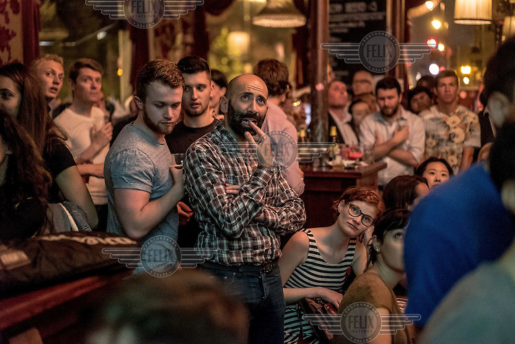 People at a referendum results party at the Lexington Pub in north London.