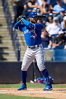 Toronto Blue Jays center fielder Kevin Pillar (11) at bat during a Grapefruit League Spring Training game against the New York Yankees on February 25, 2019 at George M. Steinbrenner Field in Tampa, Florida.  Yankees defeated the Blue Jays 3-0.  (Mike Janes/Four Seam Images)