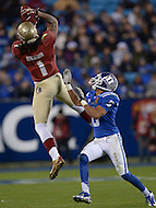 December 7, 2013  (Charlotte, North Carolina)  Florida State Seminoles wide receiver Kelvin Benjamin #1 attempts to catch a pass defended by Duke Blue Devils cornerback Ross Cockrell #6 in the 2013 ACC Championship game at the Bank of America Stadium, December 7, 2013. (Photo by Don Baxter/Media Images International)