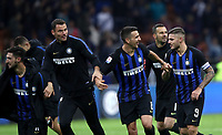 Calcio, Serie A: Inter Milano - AC Milan , Giuseppe Meazza stadium, .October 21, 2018.<br /> Inter's players celebrate after winning 1-0  the Italian Serie A football match between Inter and Milan at Giuseppe Meazza (San Siro) stadium, October 21, 2018.<br /> UPDATE IMAGES PRESS/Isabella Bonotto