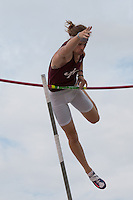 Jenks High School senior Tommy Dial can't clear 17-5.5 but wins the pole vault with a clearance of 17-00 at the 2015 Kansas Relays. The mark would tie Dial for seventh in the country, but he has a previous jump of 17-1 that puts him fifth nationally.