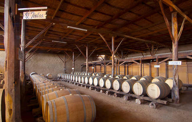 Peru, Bodega Ocucaje, Winery And Vineyards, Barrels Of Aging Wines, Ocucaje Desert