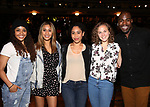 Sasha Hollinger, Joanna Jones, Erin Clemons, Hope Endrenyi and Justin Dine Bryant  during the an eduHAM Q & A panel with the cast of Broadway's 'Hamilton' at The Richard Rodgers Theatre on May 23, 2018 in New York City.