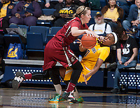 Mercedes Jefflo of California is fouled by Washington State during the game at Haas Pavilion in Berkeley, California on February 27th, 2014.   California defeated Washington State, 75-68.