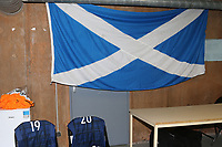 A Scotland flag on display in the dressing room pre-match during England Under-18 vs Scotland Under-20, Toulon Tournament Semi-Final Football at Stade Parsemain on 8th June 2017