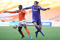 Blackpool's Sullay Kaikai under pressure from Maidstone United's Ryan Johnson<br /> <br /> Photographer Kevin Barnes/CameraSport<br /> <br /> Emirates FA Cup Second Round - Blackpool v Maidstone United - Sunday 1st December 2019 - Bloomfield Road - Blackpool<br />  <br /> World Copyright © 2019 CameraSport. All rights reserved. 43 Linden Ave. Countesthorpe. Leicester. England. LE8 5PG - Tel: +44 (0) 116 277 4147 - admin@camerasport.com - www.camerasport.com