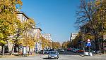 Plac Centralny im. Ronalda Reagana w Krakowie, widok w kierunku Aleji Róż–ulicy mającej początek przyPlacu Centralnym, a koniec na skrzyżowaniu zul. Bulwarową.