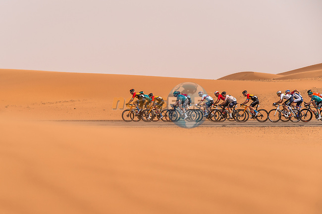 The peloton during Stage 1 of the Saudi Tour 2020 running 173km from Saudi Arabian Olympic Committee to Jaww, Saudi Arabia. 4th February 2020. <br /> Picture: ASO/Kåre Dehlie Thorstad   Cyclefile<br /> All photos usage must carry mandatory copyright credit (© Cyclefile   ASO/Kåre Dehlie Thorstad)