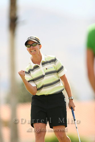 Apr. 2, 2006; Rancho Mirage, CA, USA; Karrie Webb celebrates after sinking an eagle putt on the first playoff hole on the 18th green to win the Kraft Nabisco Championship at Mission Hills Country Club. ..Mandatory Photo Credit: Darrell Miho.Copyright © 2006 Darrell Miho .