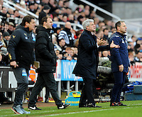 Mark Hughes manager of Stoke City protests to the referee