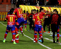 PASTO - COLOMBIA - 11 - 02 - 2018: Los jugadores de Deportivo Pasto celebran el gol anotado a Atletico Junior, durante partido Deportivo Pasto y Atletico Junior, de la fecha 2 por la Liga Aguila I 2018, jugado en el estadio Departamental Libertad de la ciudad de Pasto.  / The players of Deportivo Pasto celebrate a scored goal to Atletico Junior, during a match Deportivo Pasto and Atletico Junior, of the 2nd date for the Liga Aguila I 2018 at the Departamental Libertad stadium in Pasto city. Photo: VizzorImage. / Leonardo Castro / Cont.