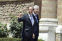Roma, 22 Giugno 2012.Villa Madama.Vertice quadrilaterale su Eurozona con i leader di Italia, Francia, Germania e spagna.Nella foto, Mario Monti e Francois Hollande