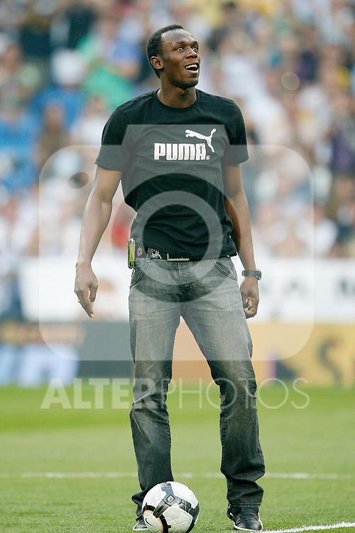 Tribute to Usain Bolt before La Liga match in Santiago Bernabeu Stadium.August 29 2009. (ALTERPHOTOS/Acero).