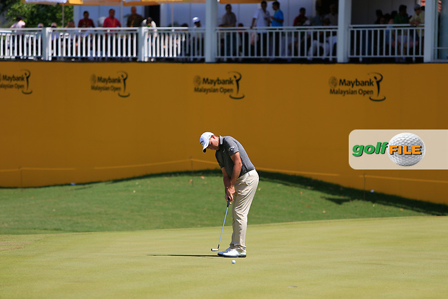 Sam Brazel (AUS) on the 18th green during Round 4 of the Maybank Malaysian Open at the Kuala Lumpur Golf &amp; Country Club on Sunday 8th February 2015.<br /> Picture:  Thos Caffrey / www.golffile.ie