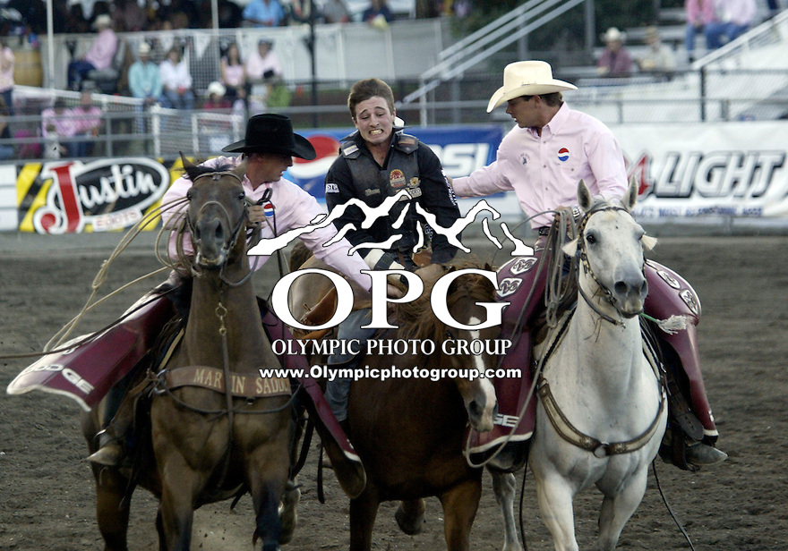 24 Aug 2007:  Steven Dent riding the horse Harley Tucker scored a zero in the Bareback Riding competition at the Kitsap County Thunderbird  Pro Rodeo in Bremerton, Washington.
