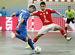 Ugra Yugorsk's Marcenio (l) and SL Benfica's Rafael Henmi during UEFA Futsal Cup 2015/2016 Semifinal match. April 22,2016. (ALTERPHOTOS/Acero)