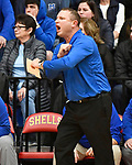 Roxana coach Mark Briggs sends in a play to his team. Alton Marquette played Roxana in the Class 2A Roxana boys basketball regional final at Roxana High School in Roxana, Illinois on Friday February 28, 2020. <br /> Tim Vizer/Special to STLhighschoolsports.com