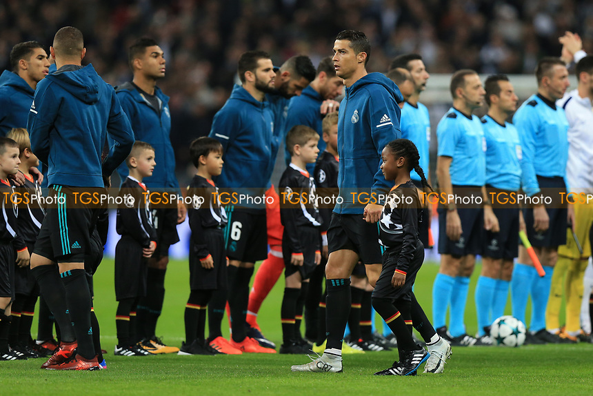 Cristiano Ronaldo of Real Madrid makes his way onto the pitch during Tottenham Hotspur vs Real Madrid, UEFA Champions League Football at Wembley Stadium on 1st November 2017