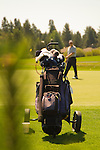 Golf stand bag on a golf course in Bend, Oregon