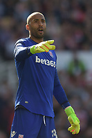 Stoke City's Lee Grant<br /> <br /> Photographer Terry Donnelly/CameraSport<br /> <br /> The Premier League - Stoke City v Liverpool - Saturday 8th April 2017 - bet365 Stadium - Stoke-on-Trent<br /> <br /> World Copyright &copy; 2017 CameraSport. All rights reserved. 43 Linden Ave. Countesthorpe. Leicester. England. LE8 5PG - Tel: +44 (0) 116 277 4147 - admin@camerasport.com - www.camerasport.com