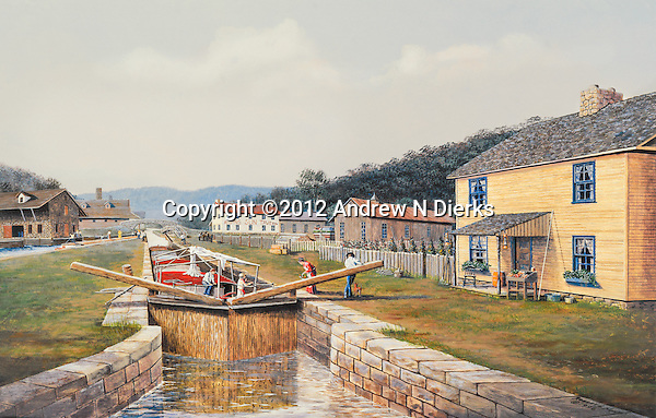 "Canal lock in operation near the holding basin in the town of Hollidaysburg, PA, in the 1830's; locktender's house on the right and the Rising Sun Tavern in the distance. Available as a 11.5"" x 19.5"" fine art limited edition lithograph, with a detailed Certificate of Authenticity showing names of all the buildings."