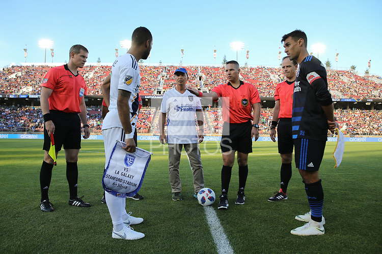 Stanford, CA - Saturday June 30, 2018: Ashley Cole, Jose Carlos Rivero, Chris Wondolowski prior to a Major League Soccer (MLS) match between the San Jose Earthquakes and the LA Galaxy at Stanford Stadium.