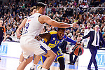 Real Madrid's Sergio Llull and Gustavo Ayon and Maccabi Fox's Sonny Weens during Turkish Airlines Euroleague match between Real Madrid and Maccabi at Wizink Center in Madrid, Spain. January 13, 2017. (ALTERPHOTOS/BorjaB.Hojas)