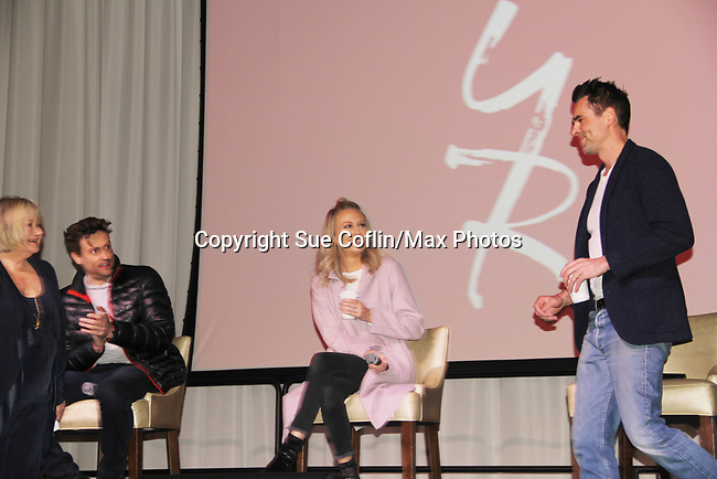 The Young and The Restless actors Damiel Goddard, Melissa Ordway and Jason Thompson with Joyce Beckeron February 16, 2019 for a fan q & a, meet and great with autographs and photo taking hosted by Soap Opera Festival's Joyce Becker at the Hollywood Casino in Columbus, Ohio. (Photos by Sue Coflin/Max Photos)