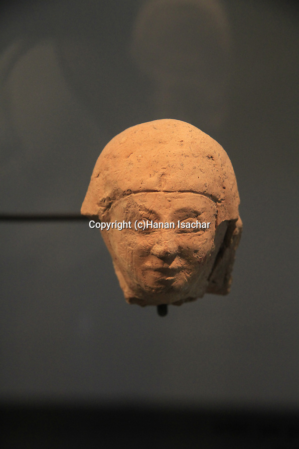 Head of a Goddess from Tel Dan, pottery, 3rd-2nd centuries BC, at the Skirball Museum of Biblical Archaeology in Jerusalem