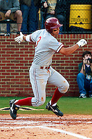 NASHVILLE, TENNESSEE-Feb. 26, 2011:  Kenny Diekroeger of Stanford singles to center against Vanderbilt, during a game at Vanderbilt University in Nashville, Tennessee.  Vanderbilt defeated Stanford 8-7.