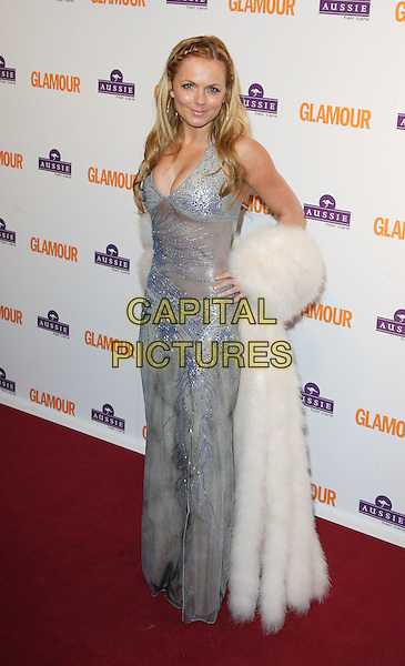 GERI HALLIWELL.Glamour Women of the Year Awards 2008, held at Berkeley Square, London, England, June 3rd 2008..full length long green blue shiny silver beaded dress cream white fur coat plaits braids hair hoop earrings.CAP/ROS.©Steve Ross/Capital Pictures
