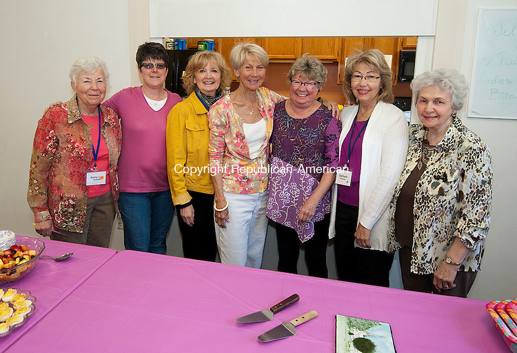 WOODBURY,  CT--- -041616JS02--Members of the Welcoming Committee get ready for guests to arrive for the St. Paul's Episcopal Church's annual Woman's Breakfast Saturday at the church in Woodbury. This year's guest was storyteller Carol Birch. <br /> Jim Shannon Republican-American