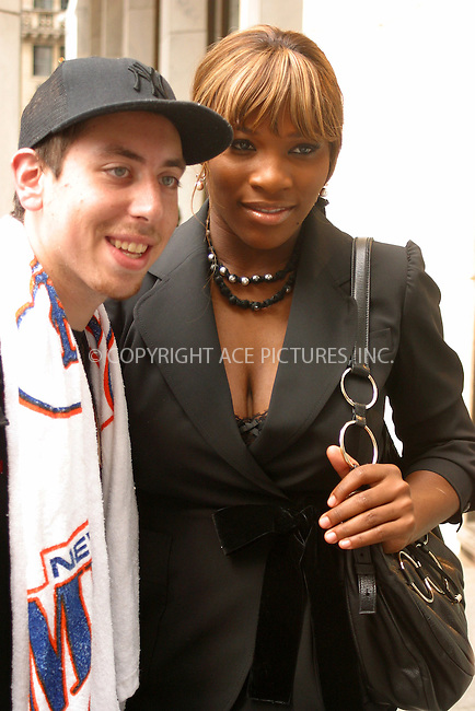 WWW.ACEPIXS.COM . . . . .  ....NEW YORK, JULY 19, 2005....Serena Williams stops and takes a few pictures with fans outside FAO Schwarz.....Please byline: PAUL CUNNINGHAM - ACE PICTURES..... *** ***..Ace Pictures, Inc:  ..Craig Ashby (212) 243-8787..e-mail: picturedesk@acepixs.com..web: http://www.acepixs.com