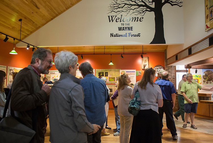 The Faculty/President Nellis Fall Orientation Tour stops at the Wayne National Forest Headquarters on Sept. 10, 2017.