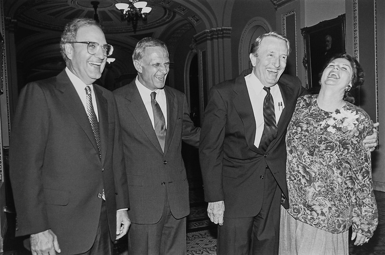 Sen. George J. Mitchell, D-Maine, Sen. Dale Bumpers, D-Ark., and Sen. David Pryor, D-Ark., with wife Barbara at Pryor reception in the Capitol Hill on Sep. 12, 1991. (Photo by Laura Patterson/CQ Roll Call)