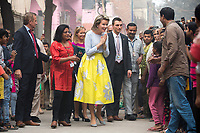 Queen Mathilde of Belgium meets with the population in Mumbai while on a State Visit to India