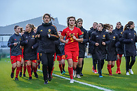 20191101 - Tubize: Belgian team making a cooling down with captain Melissa Tom (5) pictured during the international friendly match between Red Flames U16 (Belgium) and Norway U16 on 1 November 2019 at Belgian Football Centre, Tubize. PHOTO:  SPORTPIX.BE   SEVIL OKTEM