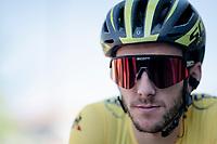 yellow jersey / GC leader Adam Yates (GBR/Mitchelton-Scott) at the stage start<br /> <br /> Stage 5: Boën-sur-Lignon to Voiron (201km)<br /> 71st Critérium du Dauphiné 2019 (2.UWT)<br /> <br /> ©kramon