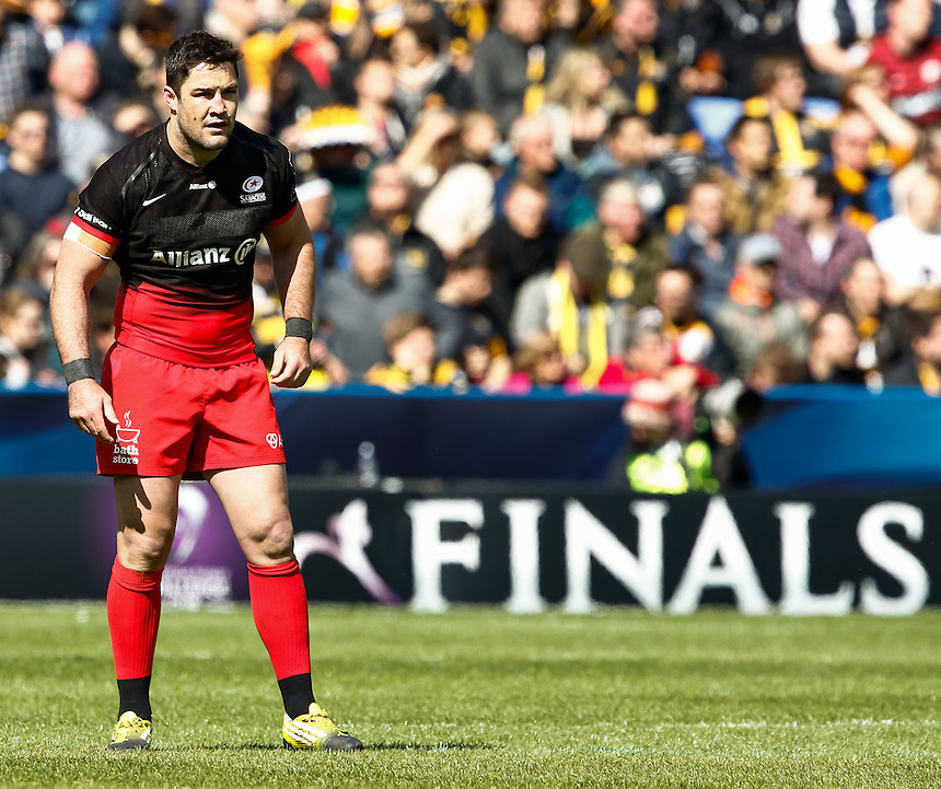 Saracens' Brad Barritt<br /> <br /> Photographer Simon King/CameraSport<br /> <br /> Rugby Union - European Rugby Champions Cup Semi Final - Saracens v Wasps - Saturday 23rd April 2016 - Madejski Stadium - Reading<br /> <br /> &copy; CameraSport - 43 Linden Ave. Countesthorpe. Leicester. England. LE8 5PG - Tel: +44 (0) 116 277 4147 - admin@camerasport.com - www.camerasport.com