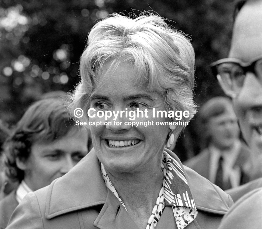 Anne Richardson, wife of Elliot Richardson, US Ambassador to the United Kingdom, pictured at the official opening of the Ulster American Folk Park, Camphill, Omagh, Co Tyrone, N Ireland. 197507300567AR4<br />