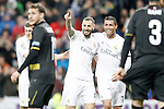 Real Madrid's Toni Kroos, Karim Benzema and Karim Benzema celebrate goal during La Liga match. March 20,2016. (ALTERPHOTOS/Acero)