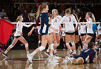 STANFORD, CA - December 1, 2018: Kathryn Plummer, Kate Formico, Holly Campbell, Meghan McClure, Jenna Gray at Maples Pavilion. The Stanford Cardinal defeated Loyola Marymount 25-20, 25-15, 25-17 in the second round of the NCAA tournament.