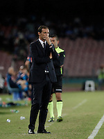 Calcio, Serie A: Napoli vs Juventus. Napoli, stadio San Paolo, 26 settembre 2015. <br /> Juventus' coach Massimiliano Allegri looks on during the Italian Serie A football match between Napoli and Juventus at Naple's San Paolo stadium, 26 September 2015.<br /> UPDATE IMAGES PRESS/Isabella Bonotto