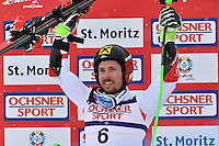 February 17, 2017: Marcel HIRSCHER (AUT) celebrates his gold medal in the men's giant slalom event at the FIS Alpine World Ski Championships at St Moritz, Switzerland. Photo Sydney Low