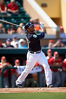 Detroit Tigers right fielder J.D. Martinez (28) at bat during an exhibition game against the Florida Southern Moccasins on February 29, 2016 at Joker Marchant Stadium in Lakeland, Florida.  Detroit defeated Florida Southern 7-2.  (Mike Janes/Four Seam Images)