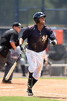 GCL Yankees 2 outfielder Frank Frias (40) at bat during a game against the GCL Braves on June 23, 2014 at the Yankees Minor League Complex in Tampa, Florida.  GCL Yankees 2 defeated the GCL Braves 12-4.  (Mike Janes/Four Seam Images)