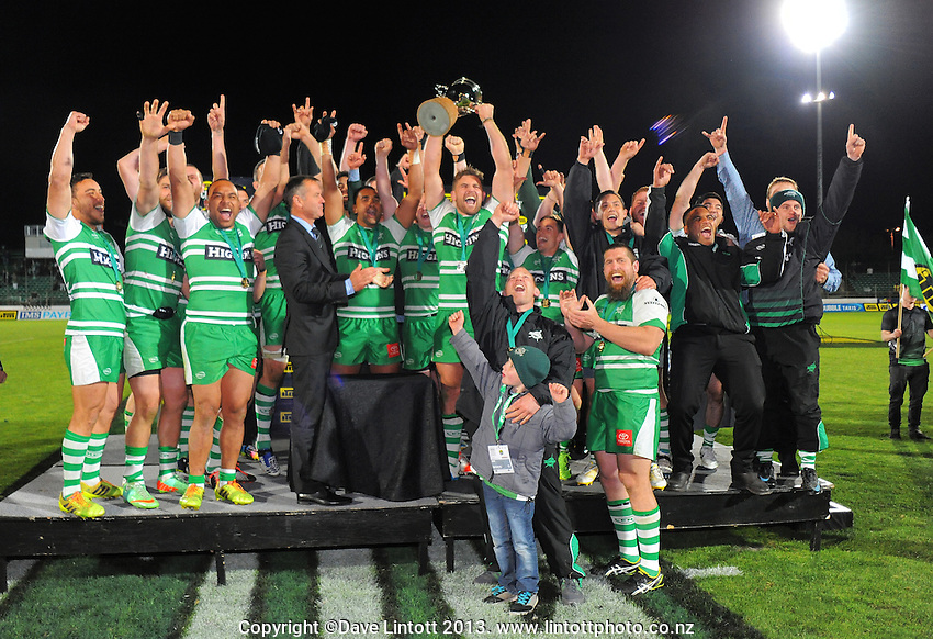 The Turbos celebrate winning the ITM Cup rugby championship final match between Manawatu Turbos and Hawkes Bay Magpies at FMG Stadium, Palmerston North, New Zealand on Friday, 24 October 2014. Photo: Dave Lintott / lintottphoto.co.nz