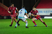Steffan Hughes of Scarlets in action during the European Rugby Challenge Cup Round 4 match between the Scarlets and Bayonne at the Parc Y Scarlets in Llanelli, Wales, UK. Saturday 14 December 2019